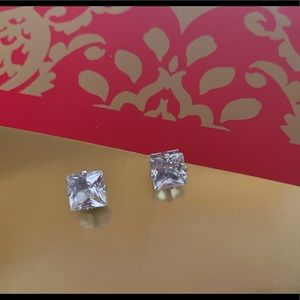 Genuine 14K White Gold Pierced Earrings